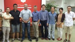 Scott Gales and Eclipse guitar tuner design team at Shenzhen factory